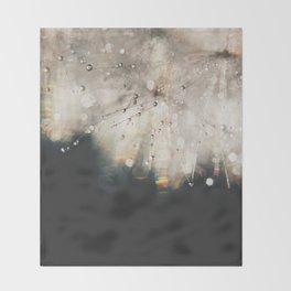 dandelion silver and black Throw Blanket