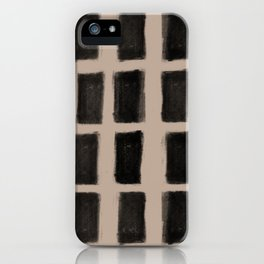 Brush Strokes Vertical Lines Black on Nude iPhone Case