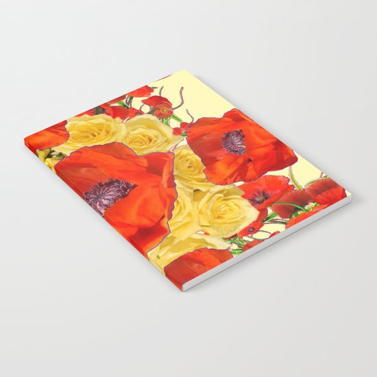 ORANGE POPPY FLOWERS GARDEN YELLOW ROSES ART by sharlesart