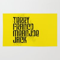 steelers Area & Throw Rugs featuring Terry Franco Mean Joe Jack / Gold by Brian Walker