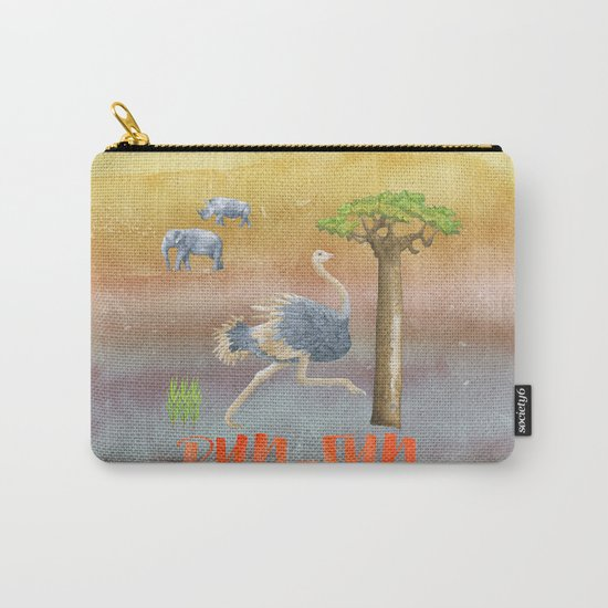 Run Fun - Ostrich Bird Animal Africa  Illustration Carry-All Pouch