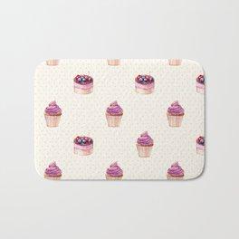 Vintage lavender pink ivory polka dots cherries pie cupcakes pattern Bath Mat