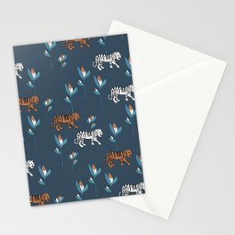 Little tiger jungle and birds of paradise flower kids wild animals navy neutral Stationery Cards