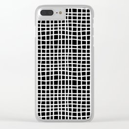 black and white random cross hatch lines checker pattern Clear iPhone Case