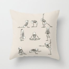 Skeleton Yoga Throw Pillow