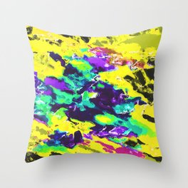 psychedelic splash painting abstract texture in yellow blue green purple Throw Pillow