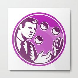 Businessman Juggler Juggling Balls Retro Metal Print