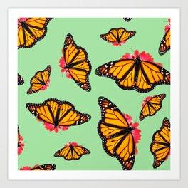 Orange Monarch Butterfly Pattern Art Print