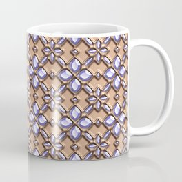 Blue glass pattern in brown background. Coffee Mug