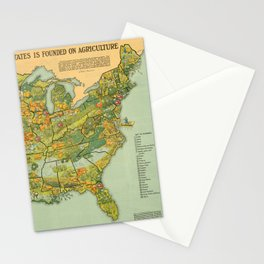 Vintage United States Agricultural Map (1922) Stationery Cards