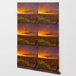 Sunset on the Plains - Sun Illuminates Sky After Stormy Day Wallpaper