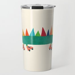 Crocodile on Roller Skates Travel Mug