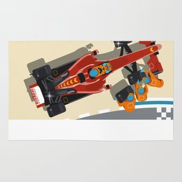 Race car in pit stop Rug