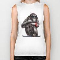 ape Biker Tanks featuring Genius Ape by beart24