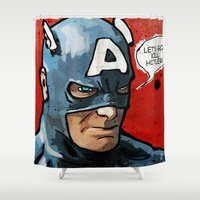 america Shower Curtains featuring Captain America by Ed Pires