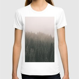 GREEN PINE TREES UNDER WHITE SKY DURING DAYTIME T-shirt