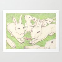bunnies Art Prints featuring Bunnies by Adi Yochalis