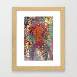 Girl With Pink Hair Framed Art Print