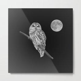Owl, See the Moon (bw, sq) Metal Print