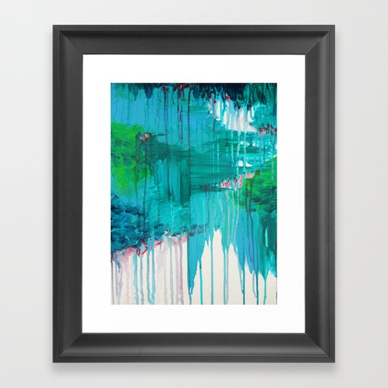 BLUE MONSOON - Stunning Rain Storm Dark Teal Clouds Navy Royal Blue Kelly Green Crimson Red Purple Framed Art Print