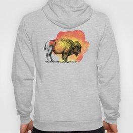 American Bison on Sunset Orange Watercolor Hoody