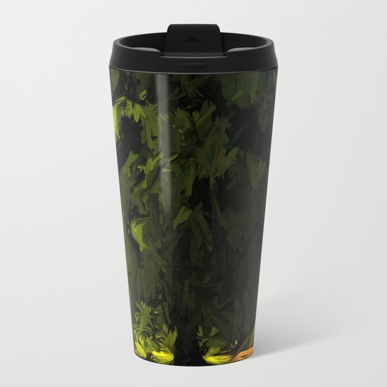 Green Tree with a Pink and Blue Sky Metal Travel Mug