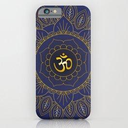 Om Symbol and Mandala in Spiritual Gold Purple Blue Violet iPhone Case