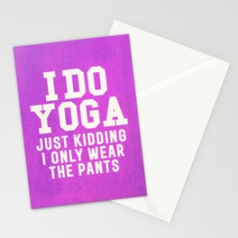 I DO YOGA JUST KIDDING I ONLY WEAR THE PANTS (Vintage Purple) Stationery Cards