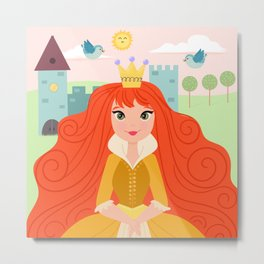 Fairy Tale Princess And Her Storybook Castle - Golden Dress Metal Print