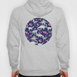 Dinosaurs and Roses on Dark Blue Purple Hoody