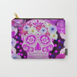 Sugar Skull and Butterfly, Day Of The Dead Carry-All Pouch