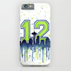 Seattle 12th Man Art Skyline Watercolor Slim Case iPhone 6