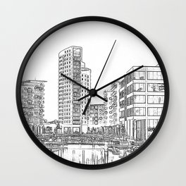 Clarence Dock Leeds Drawing Wall Clock