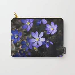 Illuminated Anemone hepatica wildflowers in a dark forest Carry-All Pouch