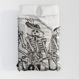 Calavera Cyclists | Skeletons on Bikes | Day of the Dead | Dia de los Muertos | Black and White | Comforters