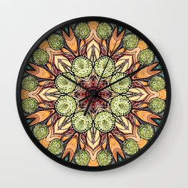 abstract red star hand drawn and kaleidoscope mandala Wall Clock