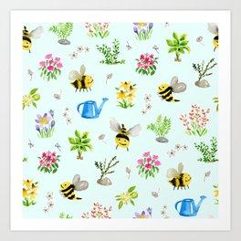 Bee Friendly Pattern Art Print