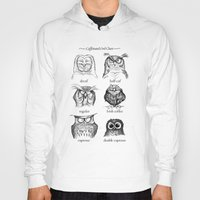 owls Hoodies featuring Caffeinated Owls by Dave Mottram