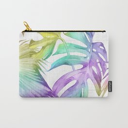 Tropical Rainbow Palm Leaves on Wood Carry-All Pouch