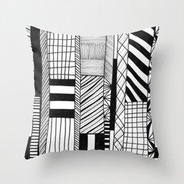 Mono Geo Lines Throw Pillow
