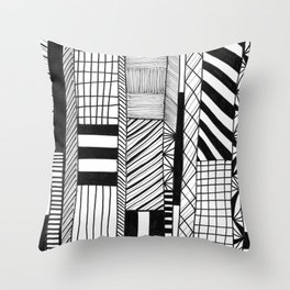 Mono Geo Lines Throw Pillow