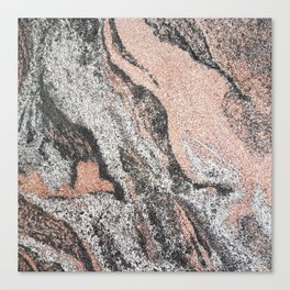 Pastel coral gray white abstract vintage marble Canvas Print