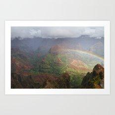 Waimea Canyon Rainbow Art Print