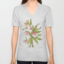 Rose Tinted Hellebore Unisex V-Neck