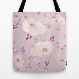 Watercolor blooming roses, tulips, and leaves contrast pinks Tote Bag