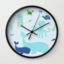Blue Nautical Under The Sea Animals Wall Clock