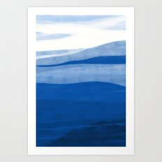 Abstract landscape in blue Art Print