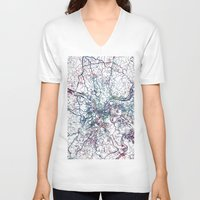 pittsburgh V-neck T-shirts featuring Pittsburgh map by MapMapMaps.Watercolors