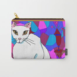 Pretty White Kitty in the Window - Stained Window Carry-All Pouch