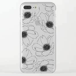 Simple Peony Flower Pattern Clear iPhone Case